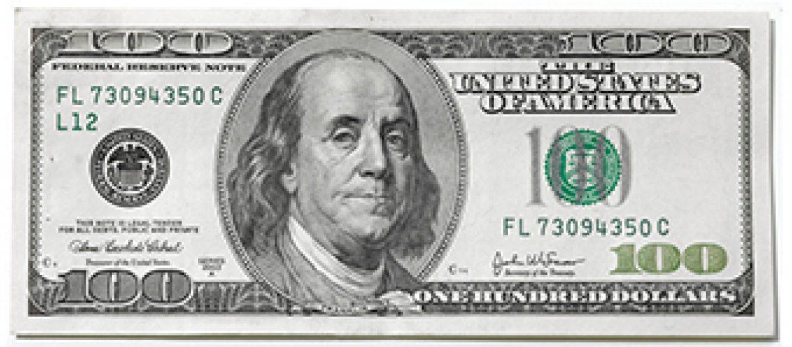 $100 bill Golftales RJSmiley